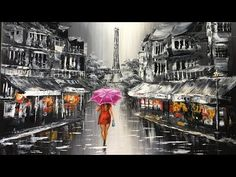 Lady with red umbrella walking on the street of Paris Acryliic Painting - Full version - YouTube