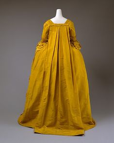 Dress Date: ca. 1760 Culture: British Medium: silk, linen, cotton Dimensions: a) L. at center back: 57 in. (144.6 cm). b) L. at center back: 34 in. (86.3 cm). c) L. at center back: 11 7/8 (30.3 cm). Credit Line: Purchase, Arlene Cooper Fund and Polaire Weissman Bequest Fund, 1996