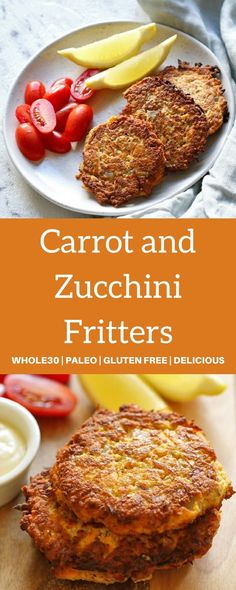 These Carrot and Zucchini Fritters are quick and easy to make and only use 7 ingredients! They are also Paleo, and Gluten-Free. Whip up a batch on the weekend and reheat during the week for a quick breakfast. Gluten Free Zucchini Fritters, Veggie Fritters, Zucchini Pie, Recipe Zucchini, Baby Food Recipes, Vegetarian Recipes, Cooking Recipes, Healthy Recipes, Healthy Cooking