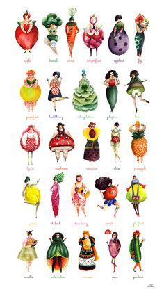 The Girlyveggiefruit Alphabet by Aitch- Amazing illustration Art And Illustration, Illustration Mignonne, Food Illustrations, Art Postal, Alphabet Art, Alphabet Design, Alphabet Coloring, Art Design, Design Ideas