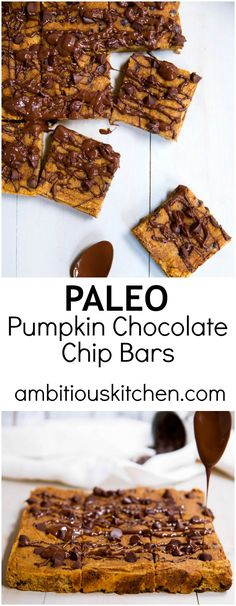 Incredible paleo chocolate chip coconut flour pumpkin bars that taste like pumpkin pie. Healthy enjoy to enjoy as a snack but indulgent like a dessert.