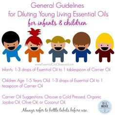 General dilution ratios for using Young Living essential oils on infants and children. Remember to always check the label on your essential oil bottle for usage instructions. Do you want to earn more about using essential oils with your baby or child? Get my tips here --> http://essentialoilsobsessed.com/how-to-dilute-essential-oils-for-children-and-adults/