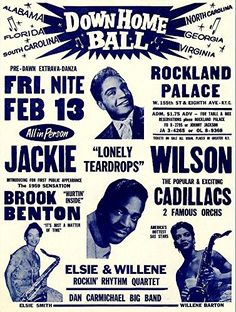 """Jackie Wilson - Down Home Ball, Rockland Palace."" Fantastic Print Taken from A Vintage Concert Poster by Design Artist http://www.amazon.co.uk/dp/B00Y2OJJSO/ref=cm_sw_r_pi_dp_YCWxvb1GN2XR3"