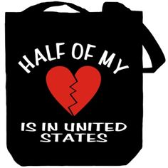 Half Of My Heart Is In United States Canvas Tote Bag