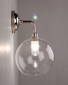 Bathroom wall light?? Hereford Clear Glass Globe Contemporary Bathroom Wall Light