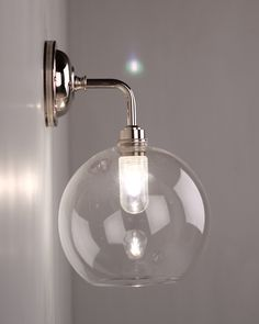 Hereford Clear Glass Globe Contemporary Bathroom Wall Light