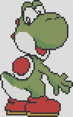 The pattern was created by me, inspired by Super Mario Brothers. Pattern is 48 stitches wide, by 77 stitches high, with a total of about 2300 stitches. Pattern includes color chart in DMC colors. Mario Crochet, Pixel Crochet, Counted Cross Stitch Patterns, Cross Stitch Designs, Cross Stitch Embroidery, Yoshi, Super Mario, Beading Patterns, Embroidery Patterns