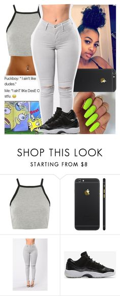 """Untitled #303"" by issaxmonea ❤ liked on Polyvore featuring Topshop and NIKE"