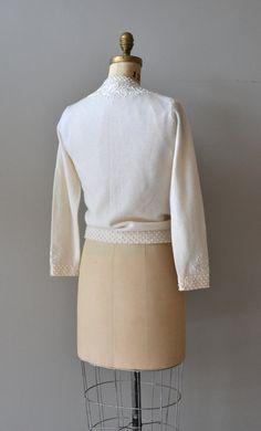 Cardigan Frond de neige / crème cardigan en laine 50 par DearGolden