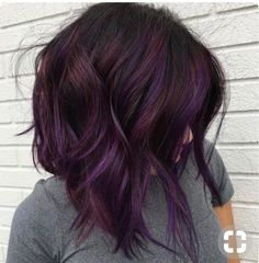 brunette with purple #hair #color #purple