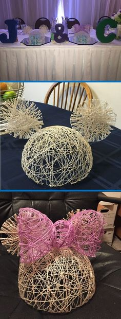 Unique Disney Wedding Centerpieces. DIY Disney characters made out of string. Minnie and Mickey head table! Made by @JacquelineFoss