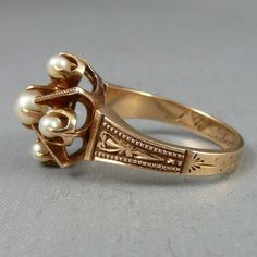 Mid Victorian 14K Rose Gold and Natural Pearl Ring c. 1876