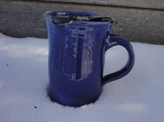 Moustache Mug  in Cobalt blue pefect gift by NancyBloklandPottery, $25.00