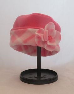 Reversible Fleece Child's Cloche Hat with Flower Pin in Pink by HandmadebyLaureen on Etsy
