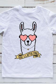 Cute Kids T shirt with adorable Llama. Funny Kids Shirts, Shirts For Girls, Custom T Shirt Printing, Custom Shirts, Llama Shirt, Cute Llama, Tee Shirt Designs, Diy For Girls, Summer Shirts