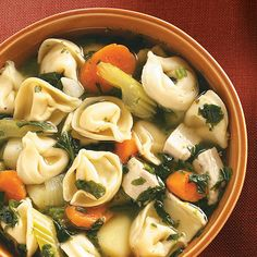 """Spinach Tortellini Soup Recipe -""""I'm always looking for easy recipes I can prepare on busy days. This is wonderful for that. Try it with fresh, crusty bread."""" —Jacqueline Dintino, Westminster, Maryland"""