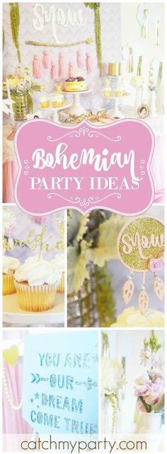 Loving this pretty pastel boho chic first birthday party! See more party ideas at CatchMyParty.com!