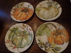 Pottery Barn PAINTED PUMPKIN WATERCOLOR SALAD PLATES-SET OF FOUR-NEW #PotteryBarn