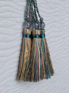 Blue green ivory pink Tassel with beads Antique Wall Decor, Curtain Accessories, Minimal Design, Pink Color, Tassel Necklace, Blue Green, Tassels, Ivory, Etsy Shop