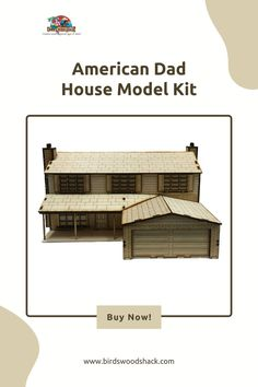 """This 3D wooden model is modeled after the house from the TV show American Dad. This model will NOT come painted or assembled. The model will be carved out with a laser machine on a 1/8"""" sheet of Baltic Birch plywood. The house is approximately 15"""" wide x 17"""" deep x 8"""" high when assembled. The house will include a set of instructions on how to assemble. #wood #modelhouse #americanhouse #gift #decor #bird'swoodshack"""