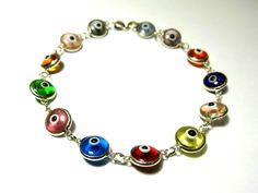 Evil eye bracelet-Silver bracelet-Sterling silver-Glass eye beads-Chain & link-Silver jewelry-Greek jewelry-Gift for her-Good luck jewelry by PlanetEarthHandmade on Etsy
