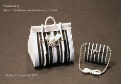 Dollhouse Small Carpet Bag and Purse - White faux leather - Black with black white stribes - 1:12 scale (LA15). €26.00, via Etsy.