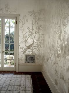 Air vents - This silver leaf on silk project was created for the Santa Barbara historic estate of Holmby Hills and was featured in Southern Accents. This mural is absolutely stunning. Chinoiserie Chic: Scott Waterman and Chinoiserie Chinoiserie Wallpaper, Chinoiserie Chic, Of Wallpaper, Metallic Wallpaper, White And Silver Wallpaper, Leaves Wallpaper, Painted Wallpaper, Luxury Wallpaper, Beautiful Wallpaper