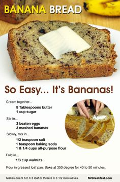 How To Make Banana Bread - just baked this today; so easy and turned out delicious. I used very ripe bananas, baked at for 55 minutes. Perfectly brown on the outside, moist on the inside. Also, a (Banana Recipes Easy) Just Desserts, Delicious Desserts, Dessert Recipes, Yummy Food, Tasty, Picnic Recipes, Baking Desserts, Cake Baking, Dessert Bread