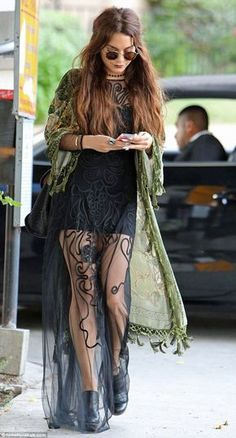 Vanessa Hudgens gives her boho style a Goth edge as she teams her sheer dress with dark lipstick Hippie hippie chic: Elements of the actress outfit embraced gypsy culture Hippie Grunge, Hippie Goth, Boho Outfits, Cute Outfits, Fashion Outfits, Fashion Clothes, Hippie Style, Hippie Chic, Boho Style