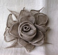 Beige Rose Linen Flower BrooshHandmade Valentine/ by LinenGifts, $18.49