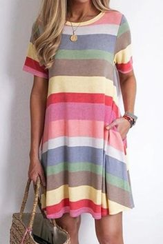 Colorful Striped Side Pockets Casual Mini Dress – immorgo Find here the Best Fashion Accessories for Women and other suggestions that will enhance your personal style. Mode Outfits, Fashion Outfits, Womens Fashion, Fashion Trends, Look Fashion, Spring Fashion, Fashion 2020, Looks Style, My Style