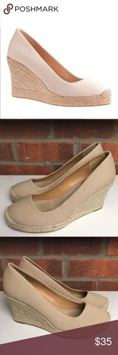 J. Crew Closed Toe Espadrilles Wedge Womens Size 8 J Crew Round-Toe Seville Espadrille Wedges   Size 8   Color: flax   Excellent condition minimal/normal wear to inner and bottom soles  Canvas J. Crew Shoes Espadrilles