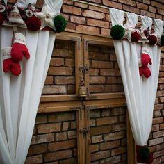 Christmas Santa Curtain Christmas Handmade Curtain Window