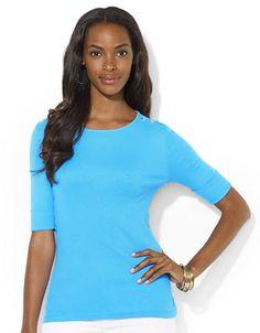 Buttoned Shoulder Cotton Crewneck Shirt - BLUE