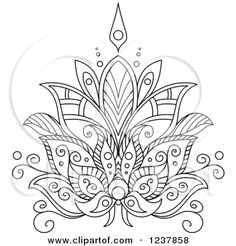 Clipart of a Black and White Henna Lotus Flower 7 - Royalty Free Vector Illustration by Seamartini Graphics