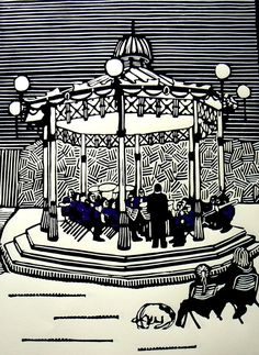 Brass Band linocut print £80.00 idea for Dad's birthday?? maybe draw one?