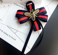 Red Blue Flower Bee Insect Fashion Ladies Men Pre Tied Bow Brooch Pin #Handmade