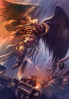 Sanguinius of the Blood Angels was slain by Horus on the bridge of his Battle Barge and flagship Vengeful Spirit in orbit above Terra at the end of the Battle of Terra and the siege of the Imperial Palace after refusing to join him and serve the Ruinous Powers of Chaos.