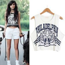 Sexy Womens Sleeveless Tiger Print Crop Loose Short Tops Blouse Vest Tank Tee