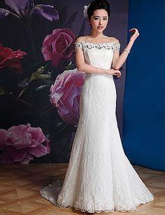 Elegant & Luxurious Trumpet/Mermaid Off-the-shoulder Court Train Wedding Dress (Lace) – GBP £ 87.59