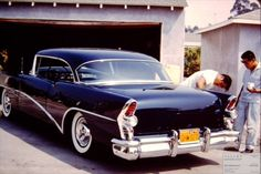 Mild custom '55 Buick with yellow & black California plates