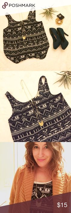 Aztec inspired tank top size Medium - barely used Aztec inspired tank top size Medium - barely worn & in great condition, perfect for office! Cute zipper embellishment on the back, 100% Polyester, easy to wear I never have to iron it, gold bracelets for sale in my store 👍🏽 Tops Blouses