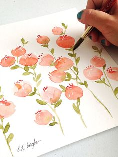 Watercolor Cards, Watercolor And Ink, Watercolour Painting, Painting & Drawing, Simple Watercolor Flowers, Watercolor Trees, Watercolor Artists, Watercolor Portraits, Watercolor Landscape