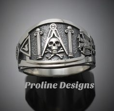Made entirely in the U. Ring Details~ Bold - Handsome - Exquisitely Finished - Original Unlike anything you have ever seen this new and exciting cigar band style will be a standout addition . Cool Rings For Men, Unique Mens Rings, Masonic Jewelry, Masonic Symbols, Cigar Band, Ring Displays, Engraved Rings, Beautiful Gift Boxes, Sterling Silver