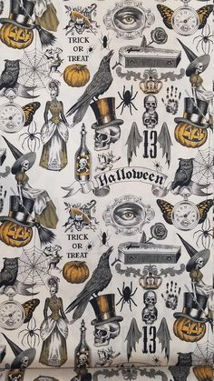 Halloween Painting, Spooky Halloween, Vintage Halloween, Halloween Crafts, Halloween Decorations, Halloween Fabric, Vintage Witch, Cute Fall Wallpaper, Halloween Wallpaper Iphone