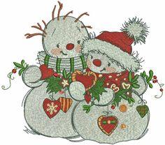 Snowmen meet the new year machine embroidery design. Machine embroidery design. www.embroideres.com
