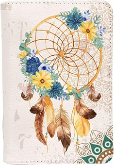 Amazon.com | Boho Dreamcatcher Personalized Leather RFID Passport Holder Cover - Travel Wallet | Passport Wallets Dreamcatcher Wallpaper, Watercolor Dreamcatcher, Boho Dreamcatcher, Dream Catcher Drawing, Dream Catcher Boho, Dream Catcher Watercolor, Flower Watercolor, Daisy Drawing, Dusty Miller