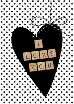 ♥Kaartje2go - Valentijnskaarten - Valentijnskaart Stippen Hart Scrabble