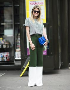 Colorblock trousers in super contrasting shades are guaranteed to catch the eye. Source: Le 21ème | Adam Katz Sinding                                                                                                1 / 54