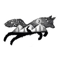 Ilustraciones de 'doble exposición' del Reino Animal hechos de miles de puntos diminutos - POP-PICTURE